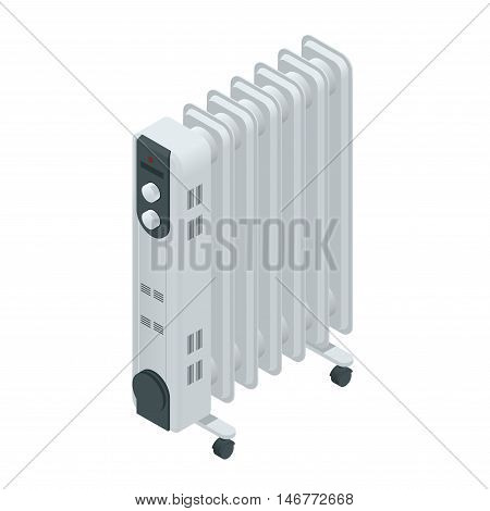 White oil heater with screen controls, isolated on a white background. Home Heating appliances icons. Household appliances. Isometric vector oil heater
