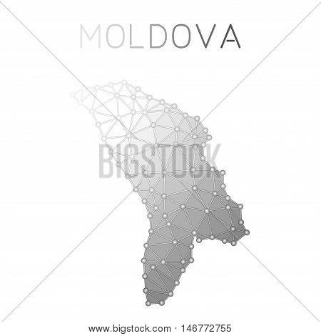 Moldova, Republic Of Polygonal Vector Map. Molecular Structure Country Map Design. Network Connectio