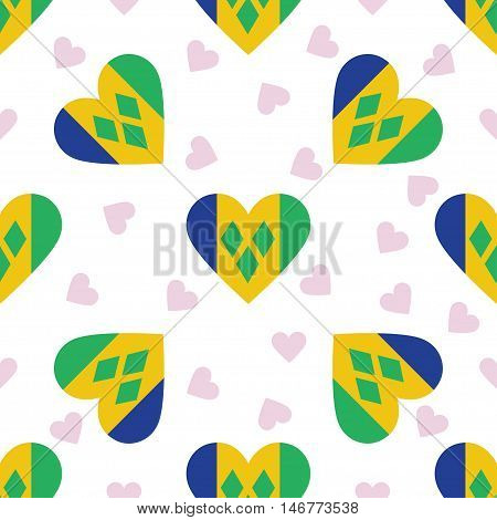 Saint Vincent And The Grenadines Independence Day Seamless Pattern. Patriotic Background With Countr