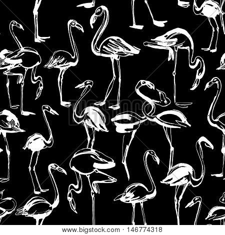 Tropical Exotic Birds Flamingos Summer Seamless Pattern. Black A