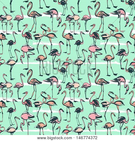 Tropical Exotic Birds Flamingos Summer Seamless Pattern. Pink A