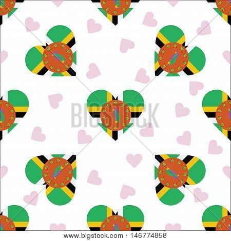 Dominica Independence Day Seamless Pattern. Patriotic Background With Country National Flag In The S