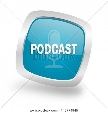 podcast square glossy chrome silver metallic web icon