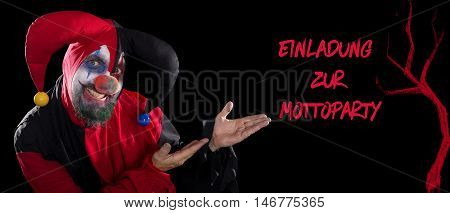 Funny Clown Showing To German Text For A Invitation To A Theme Party