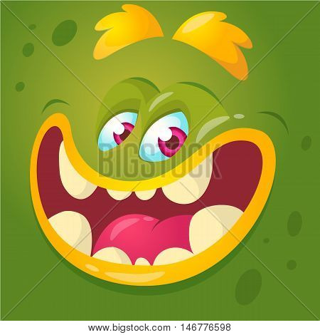 Cartoon monster face. Vector Halloween green monster avatar with wide smile