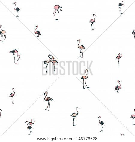 Tropical Exotic Birds Flamingos Summer Seamless Pattern. Black And White