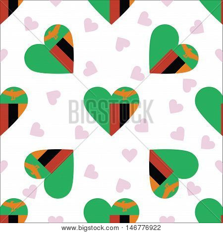 Zambia Independence Day Seamless Pattern. Patriotic Background With Country National Flag In The Sha