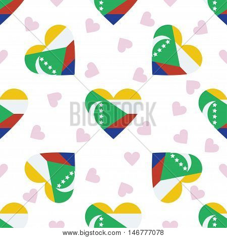 Comoros Independence Day Seamless Pattern. Patriotic Background With Country National Flag In The Sh