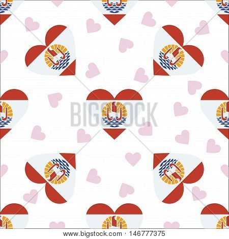 French Polynesia Independence Day Seamless Pattern. Patriotic Background With Country National Flag