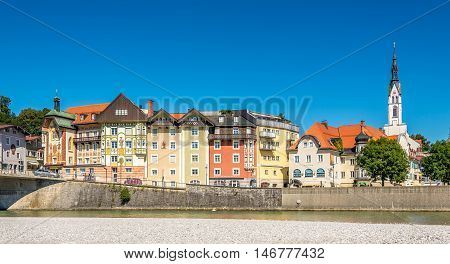 BAD TOLZ ,GERMANY - AUGUST 25,2016 - Bad Tolz seen from River Isar. Bad Tolz is known for its spas historic medieval town and spectacular views of the Alps.
