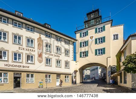 BAD TOLZ ,GERMANY - AUGUST 25,2016 - In the streets of Bad Tolz.Bad Tolz is known for its spas historic medieval town and spectacular views of the Alps.