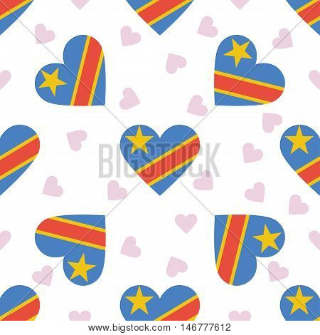 Congo, The Democratic Republic Of The Independence Day Seamless Pattern. Patriotic Background With C