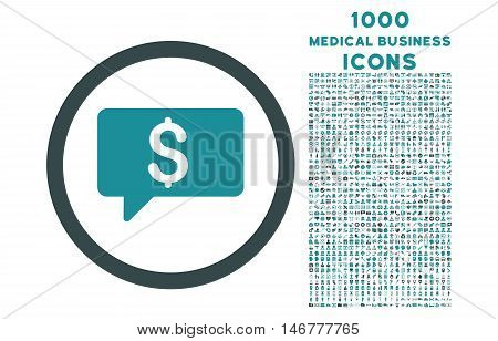 Money Message rounded glyph bicolor icon with 1000 medical business icons. Set style is flat pictograms, soft blue colors, white background.