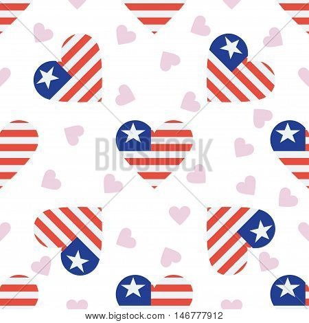 Liberia Independence Day Seamless Pattern. Patriotic Background With Country National Flag In The Sh
