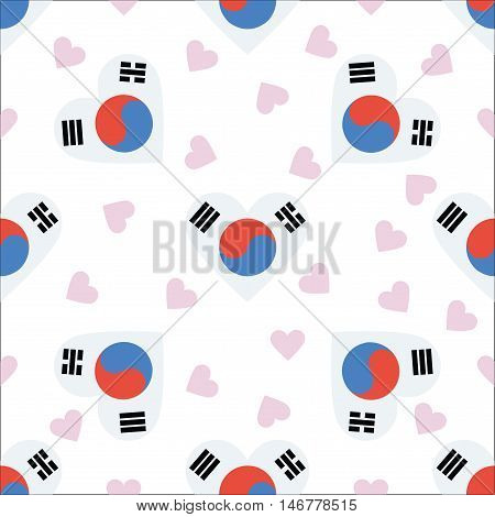 Korea, Republic Of Independence Day Seamless Pattern. Patriotic Background With Country National Fla