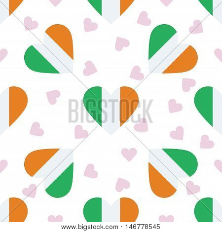 Ireland Independence Day Seamless Pattern. Patriotic Background With Country National Flag In The Sh