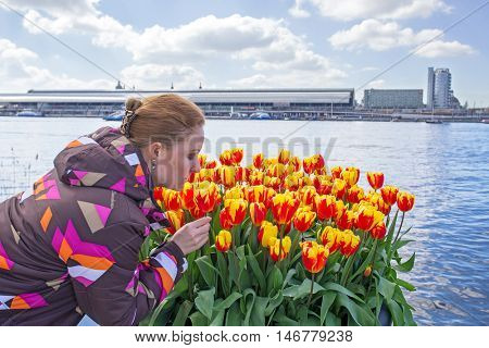 Young native dutch woman smelling blossoming tulips in the harbor from Amsterdam