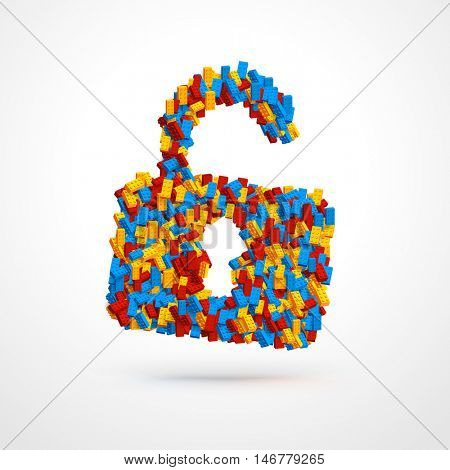 Vector unlocked padlock made of constructor bricks. Blue, red and yellow pieces. Creative concept.