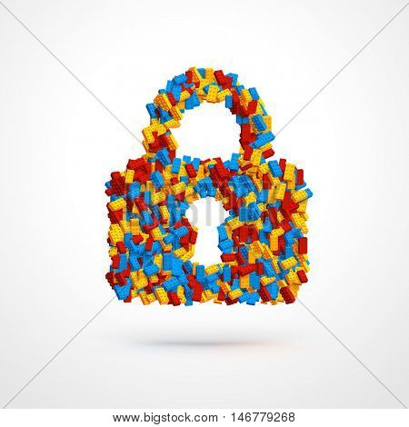 Vector locked padlock made of constructor bricks. Blue, red and yellow pieces. Creative concept.