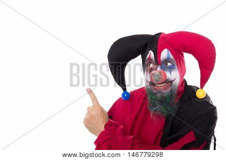 Creepy Clown Showing On Copyspace, Isolated On White