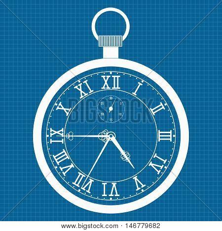 Pocket watch. Outline icon. Vector illustration on blueprint background