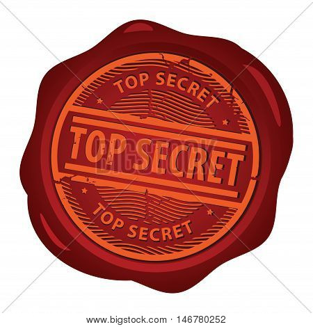 Wax seal with text Top Secret inside, vector illustration