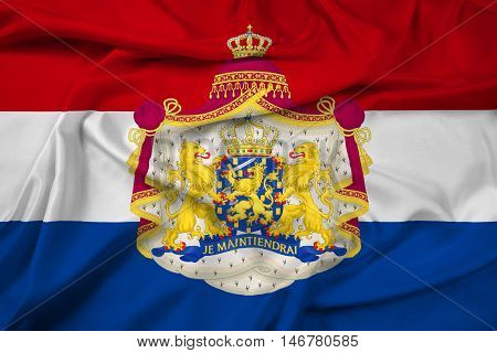 Waving Flag Of Netherlands With Coat Of Arms