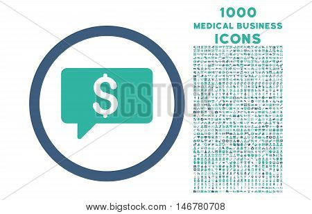 Money Message rounded glyph bicolor icon with 1000 medical business icons. Set style is flat pictograms, cobalt and cyan colors, white background.