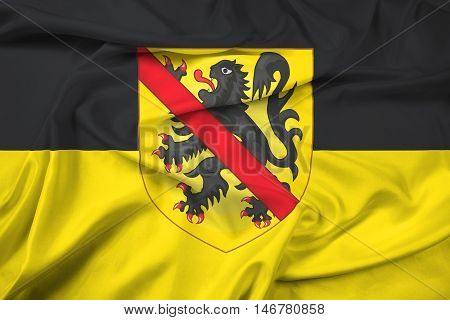 Waving Flag Of Namur With Coat Of Arms, Wallonia Region, Belgium