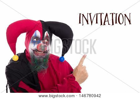 Clown Showing To Text Invitation, Isolated On White