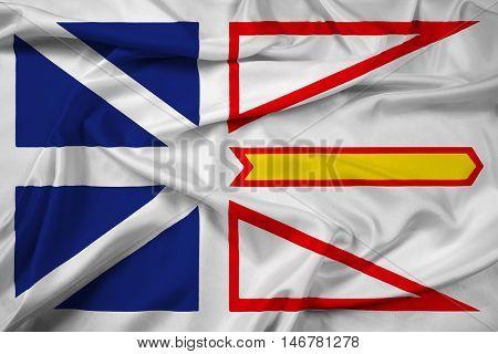 Waving Flag Of Newfoundland And Labrador Province, Canada