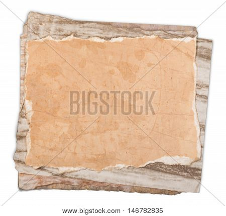 kitchen utensils, old cookbook, pages and clipboard isolated on white background. Grandma's recipes book concept