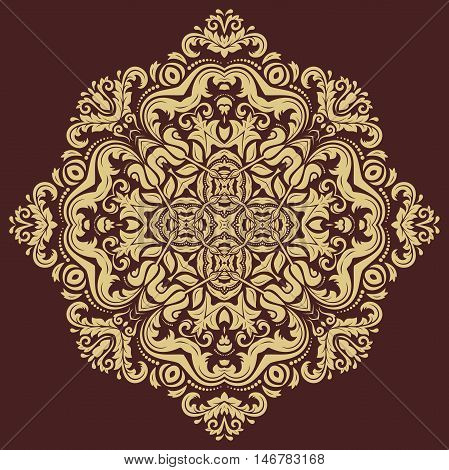 Oriental vector golden pattern with arabesques and floral elements. Traditional classic ornament