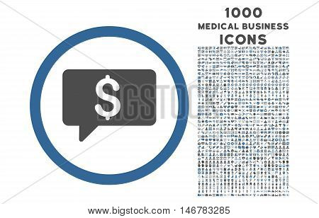Money Message rounded glyph bicolor icon with 1000 medical business icons. Set style is flat pictograms, cobalt and gray colors, white background.