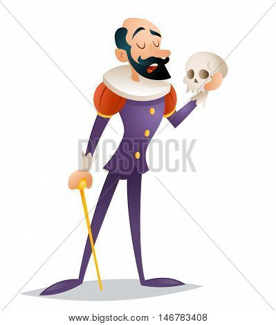 Tragic actor theater stage man medieval suit retro character isolated design vector illustration