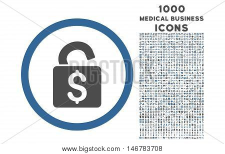Unlock Banking Lock rounded glyph bicolor icon with 1000 medical business icons. Set style is flat pictograms, cobalt and gray colors, white background.