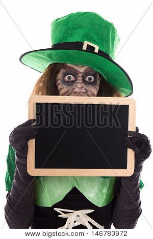 Funny Leprechaun Holding A Slate With Copyspace, Isolated On White