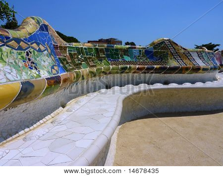 Bench At Park Guell, Barcelona, Spain