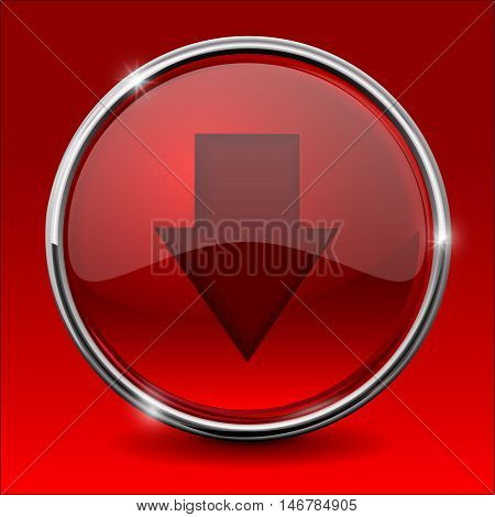 Red DOWN arrow. Shiny button with chrome frame. Vector illustration on green background