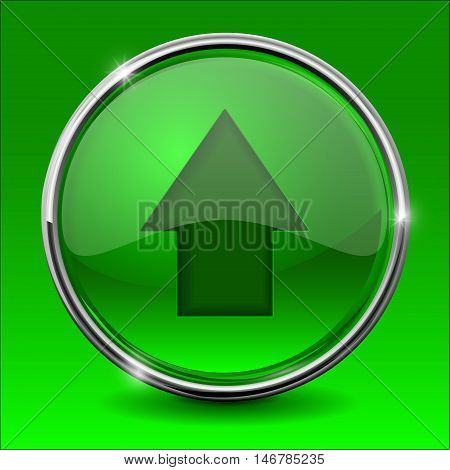 Green UP arrow. Shiny button with chrome frame. Vector illustration on green background