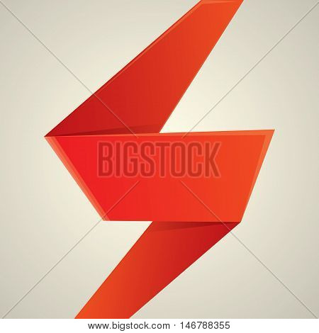 Abstract glossy red origami speech bubble. Vector abstract red background. vector red sale banner