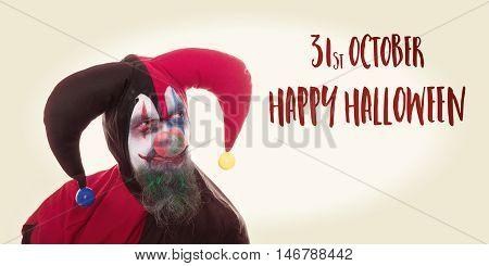 Creepy Clown Looking At Text Happy Halloween, Vintage Look