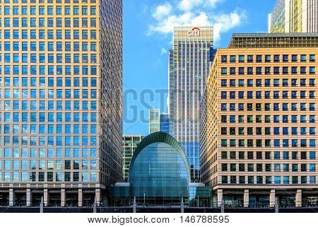 London UK - August 30, 2016 - Citigroup Centre in Canary Wharf financial district of London
