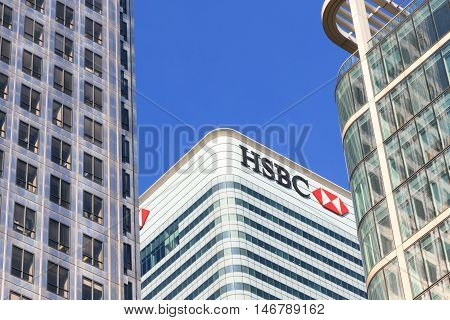 London UK - August 30 2016 - HSBC tower in Canary Wharf financial district of London