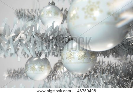 A 3D render of a closeup of white christmas baubles decorated with fine ornate snowflake patterns hanging in a fake white christmas
