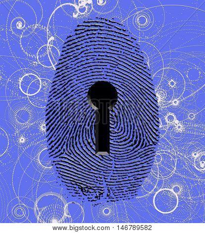 Fingerprint lock and atomic particles  3D Render
