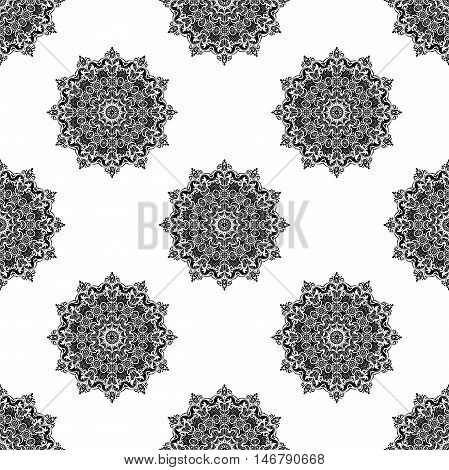 Seamless baroque vector black and white pattern. Traditional classic orient ornament