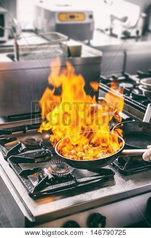 Chef Is Making Flambe Sauce