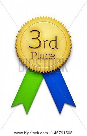 2d illustration of a third place award ribbon badge