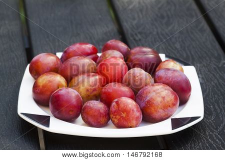 just harvested plums laying on a plate